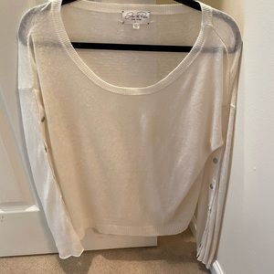 Feel The Peace White Knit Lightweight Sweater M/L